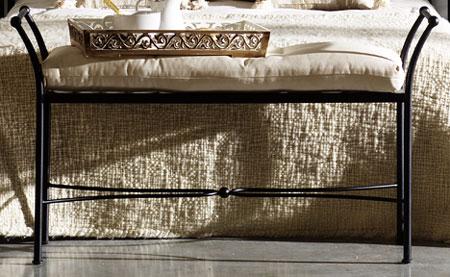 Muebles de forja taburetes y bancos descalzadores en forja - Bancos de forja para exterior ...