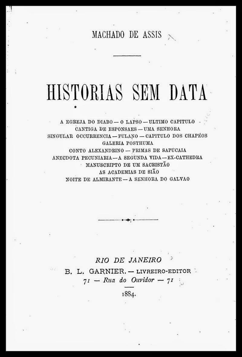 livro histórico de Machado de Assis