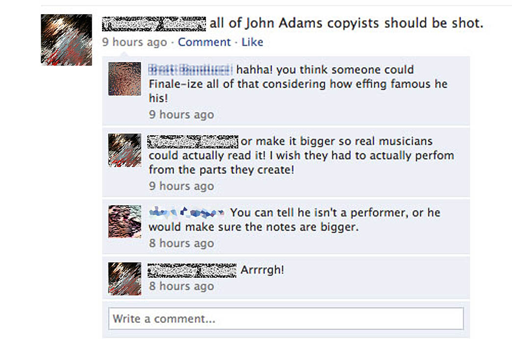 Musicians appreciate the work I do.  A fun bit of feedback on Facebook.