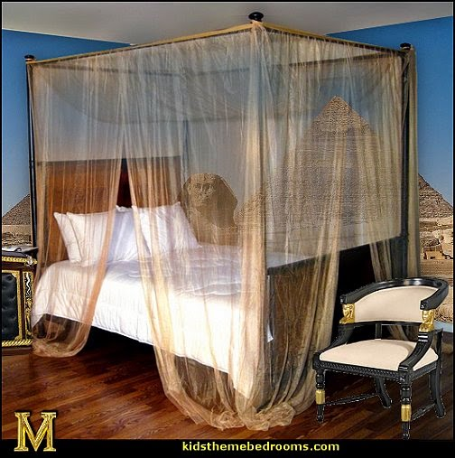 Egyptian theme decorating - gold bed canopy - Egyptian furniture