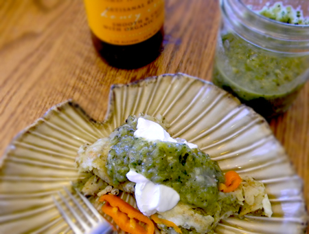 Roasted Green Chile and Tomatillo Enchiladas