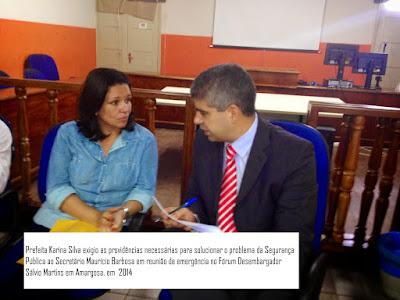 Prefeita de Amargosa reforça pedidos de melhorias na segurança pública