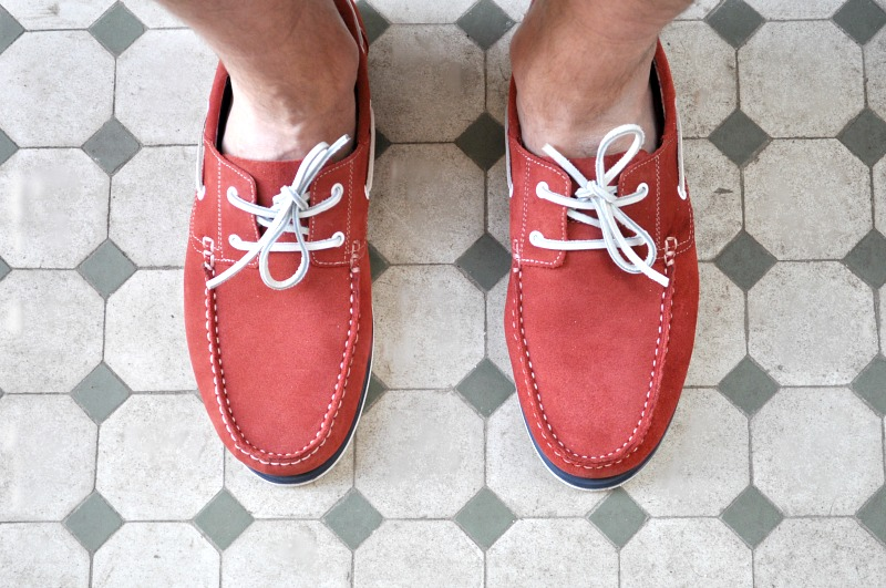 red suede boat shoes from Debenhams holiday shop