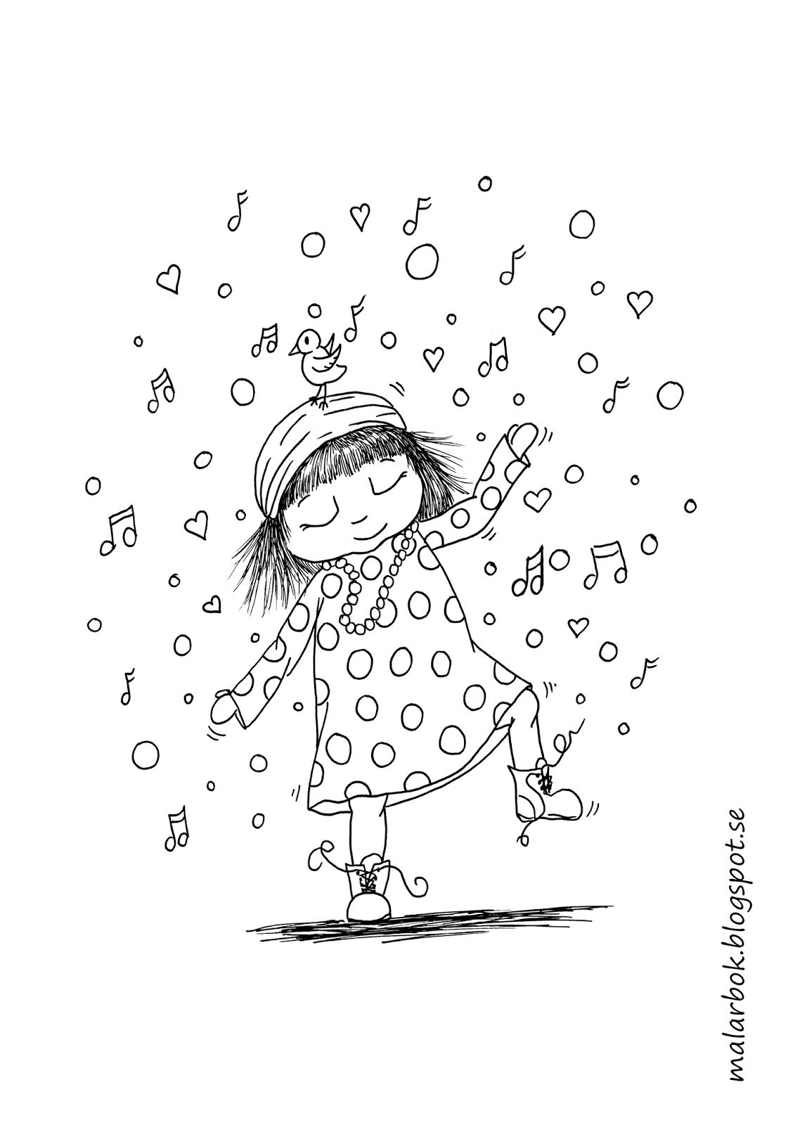 tecknad målarbild hippie flicka som dansar