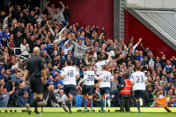 Everton fans jubilate as Leighton Baines celebrates his second goal against West Ham