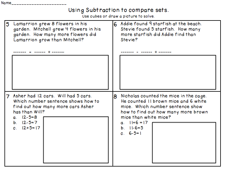 Buggy for First Grade Subtracting to Compare Numbers Freebie and – Comparing Numbers Worksheets 1st Grade