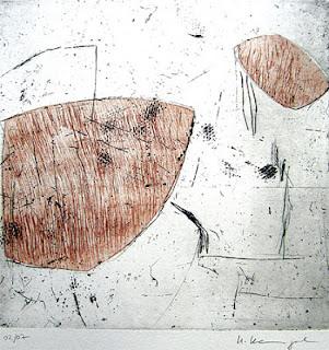 """Uschi Krempel: """"Fundstücke"""", 02/07 Farbradierung auf Kupferdruckpapier  21 x 21 cm, 2012"""