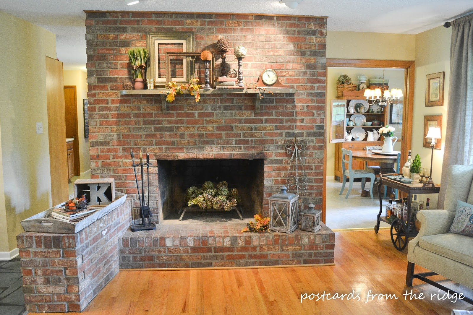 Fall mantel decor traditional version postcards from Brick fireplace wall decorating ideas