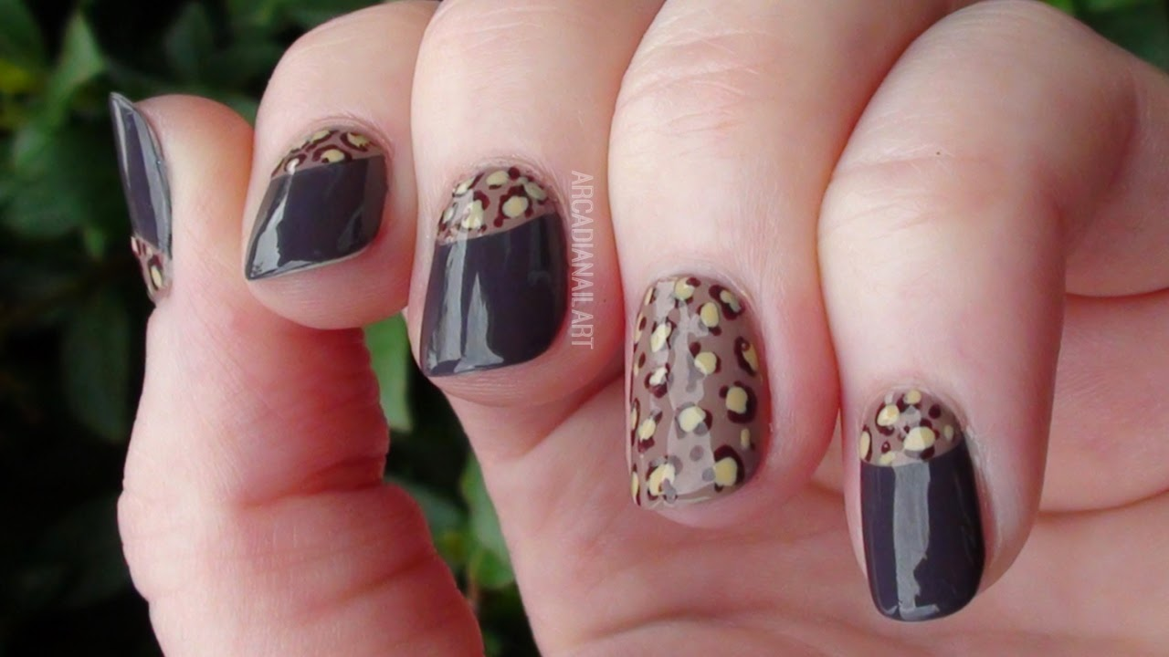 Half Moon Leopard Print Nails