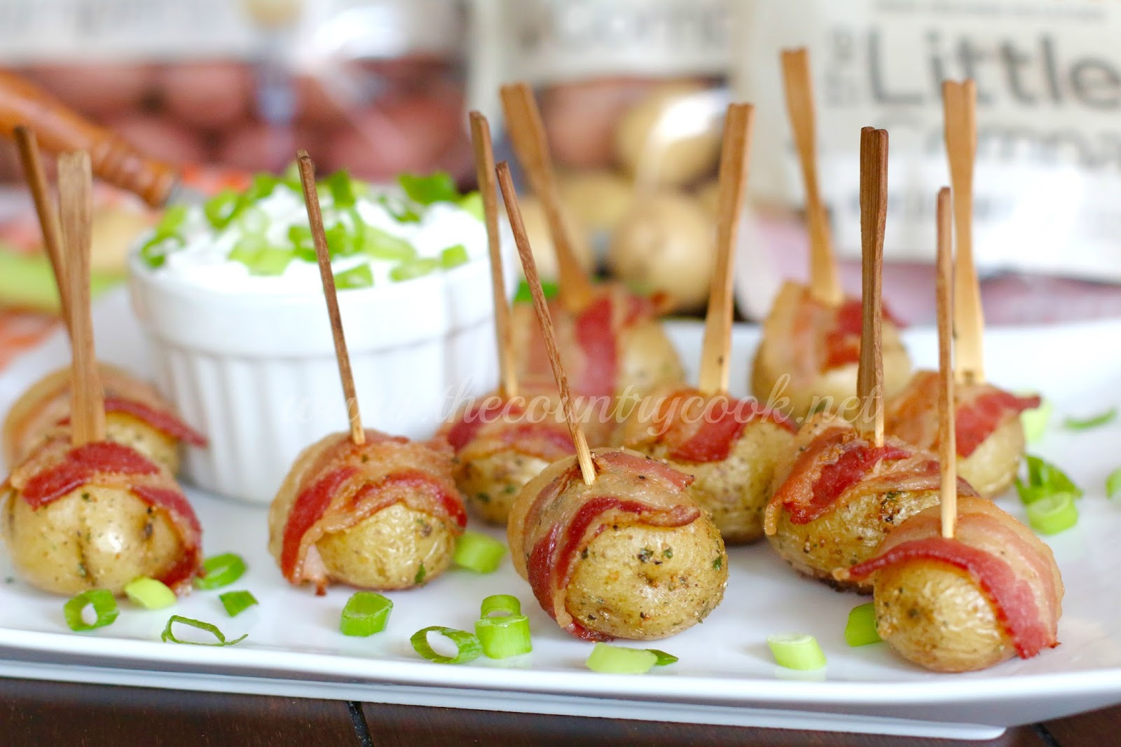 Bacon Wrapped Potatoes with Sour Cream & Onion Dip - The Country Cook