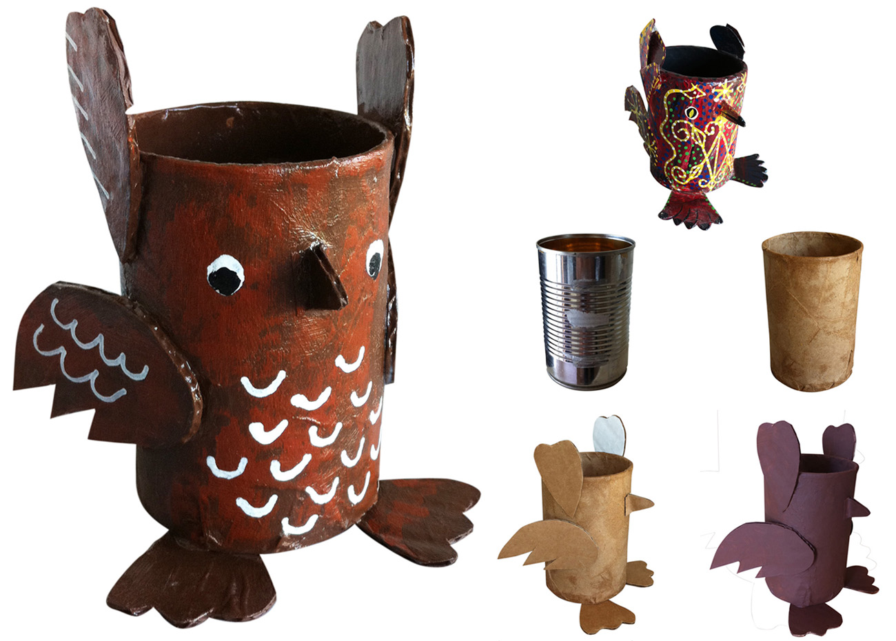 Soup can paper mache owl art projects for kids for Simple paper mache projects