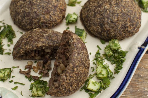 is a dish of minced meat with bulgur and spices Baked Lamb Kibbeh Recipe
