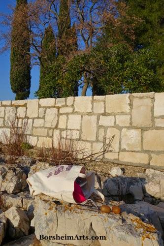 Umag Croatia Sea Wall tote bag sculptor Mary Tanner