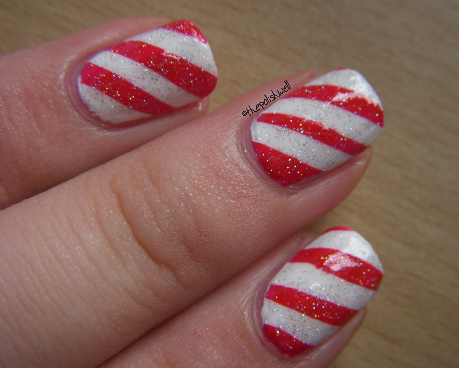 The polish well 12 days of christmas day 8 candy cane finally i topped the mani off with a coat of holographic glitter for some sparkles 3 prinsesfo Image collections