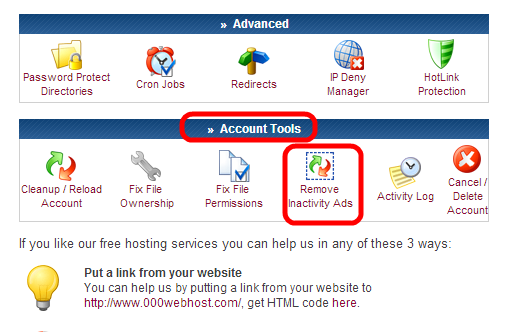 Account Tools / Remove Inactivity Ads : Control Panel on 000webhost.com