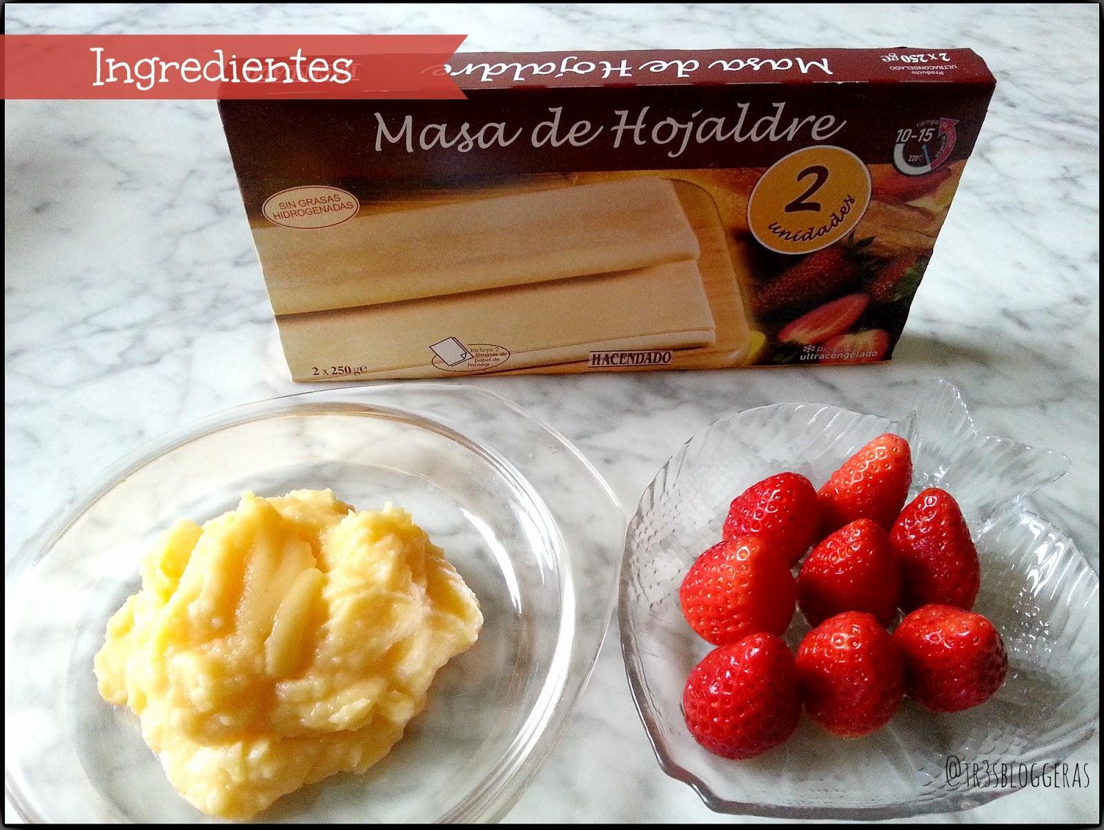ingredientes strawberry cake - tarta hojaldre rellena de crema y fresas San Valentín