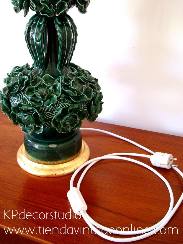 Comprar lámpara de cerámica manises antigua restaurada con cableado nuevo