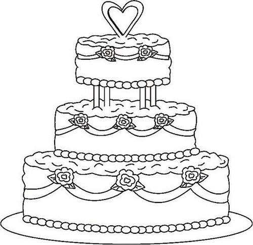 Pictures Of Cake To Colour In : Round Wedding Cake Coloring Pages to printing