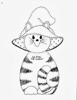 desenho de gatinha com tema de halloween para pintar