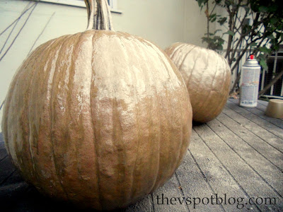 metallic, painted pumpkins, spray paint, fall, autumn