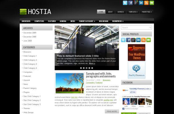 Free Dark Black Green Hosting Wordpress Theme