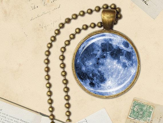 Etsy Blue Moon Necklace, blue moon pendant