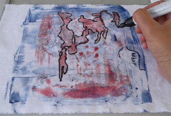 μονοτυπία, ζωγραφική σε ύφασμα, αυτόματη ζωγραφική, μαρκαδόρος για ύφασμα,
