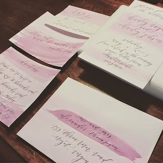 watercolor calligraphy wedding invitation
