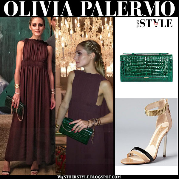 Olivia Palermo in burgundy valentino maxi dress with green leather analeena clutch paris haute couture week what she wore