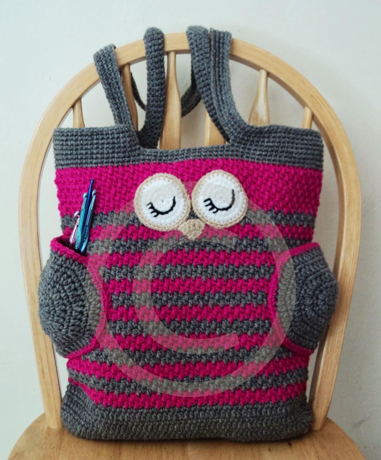 Crochet Pattern Tote Bag : Cute Little Crafts: Crochet Pattern:Sleepy Owl Tote Bag
