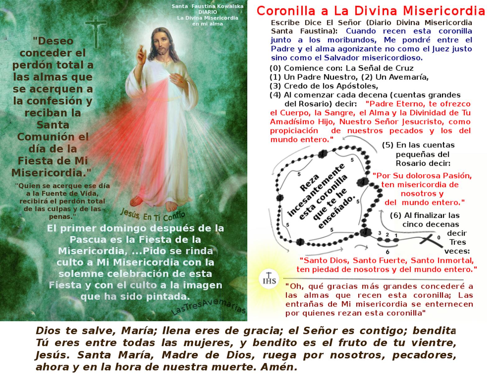 foto de la divina misericordia con la coronilla de la divina misericordia