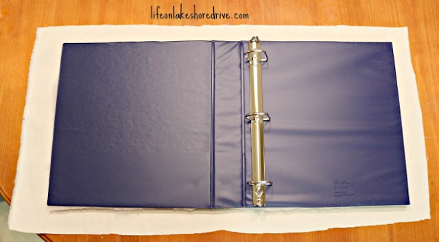 how to cover a binder with batting and fabric, tutorial, diy