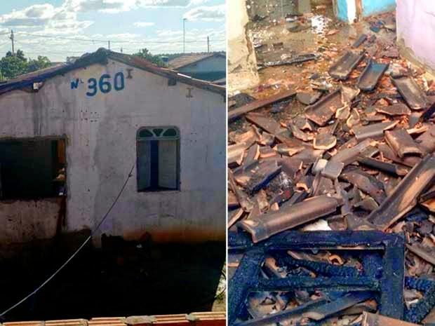 Casa de suspeito foi incendiada em Teixeira de Freitas (Foto: Uinderlei Guimarães/ Sulbahianews)