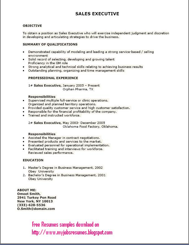 Free Download Resume Format For Sales Executive | Resume Format