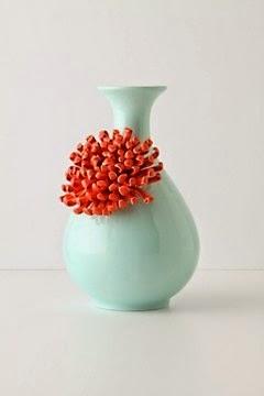 jarrón en mint y coral