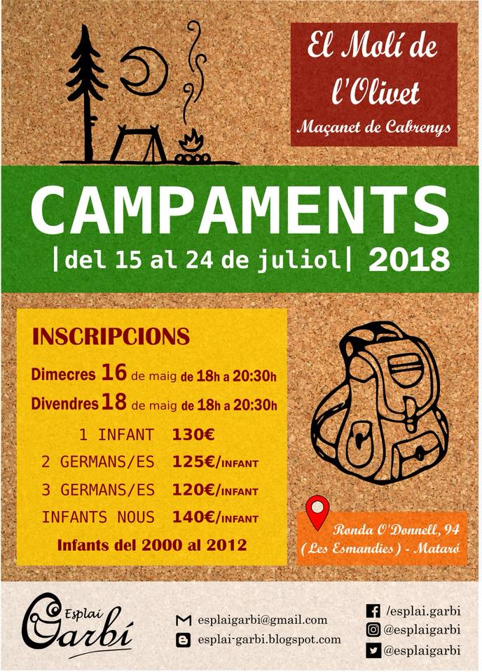 Inscripcions Campaments 2018!