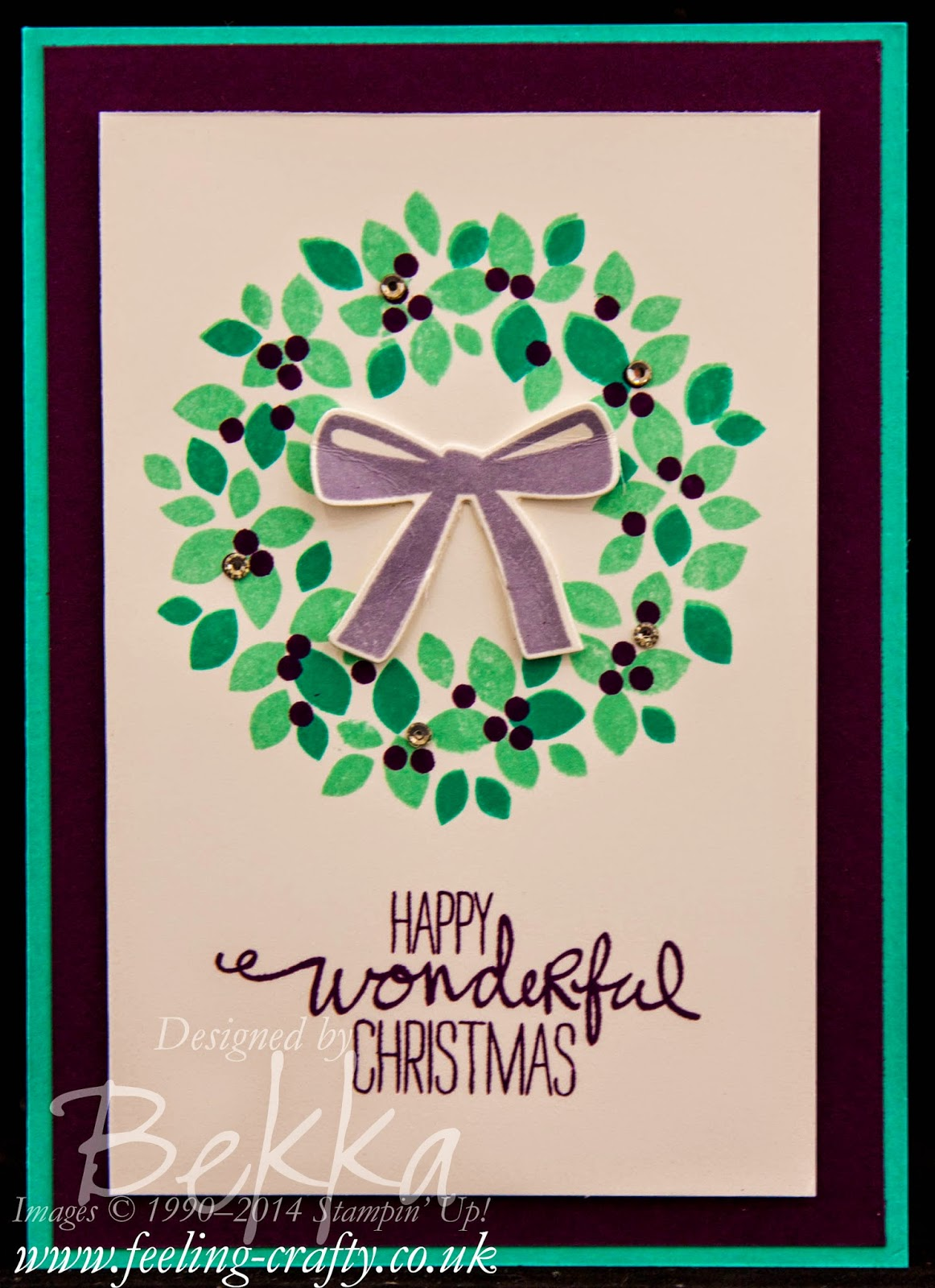Wondrous Wreath Christmas Card by Stampin' Up! UK Independent Demonstrator Bekka Prideaux - check out her blog for lots of great ideas