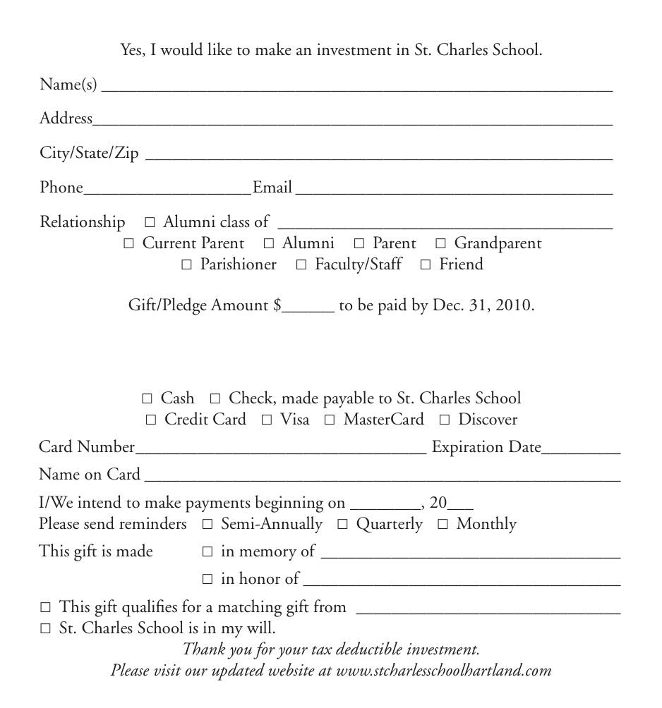 sample pledge card template