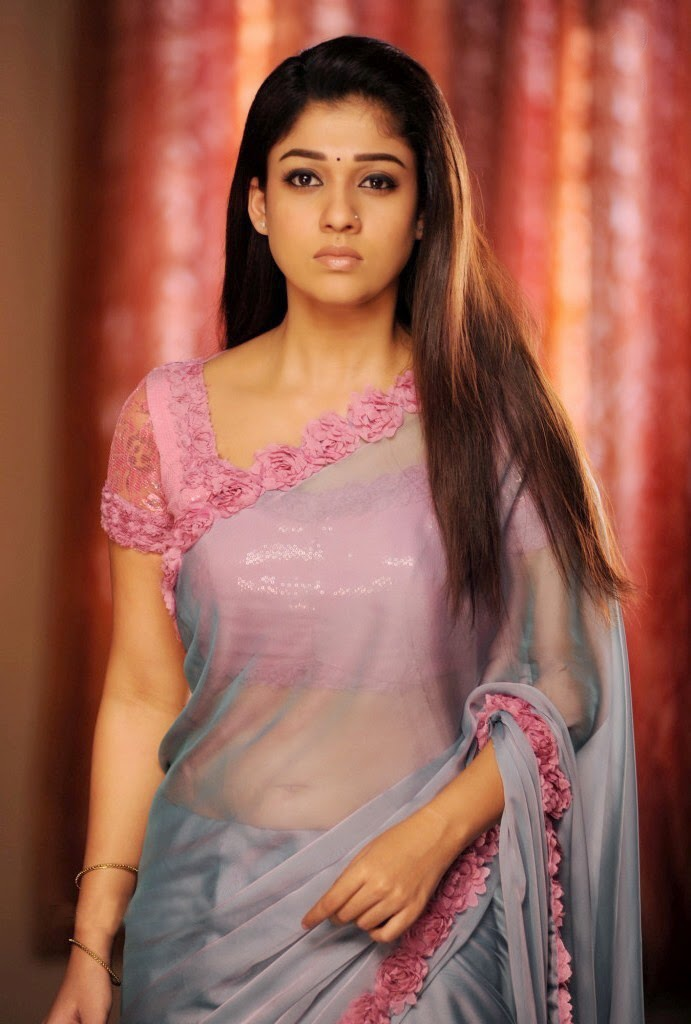 Nayanthara Hot Navel In Transparent Saree Photos Panel