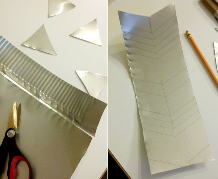 metal air ducting used to make craft projects like arrow heads and tags