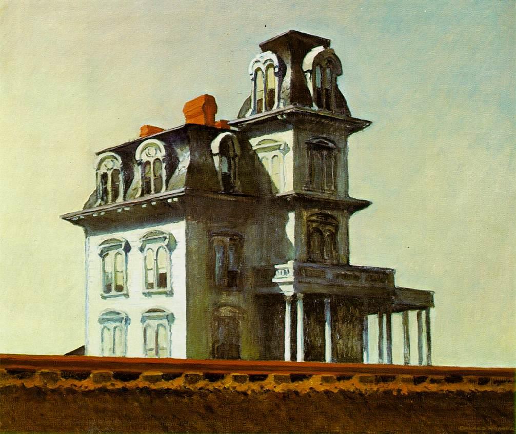 Imagen del cuadro de Edward Hopper titulado The House by the railroad.