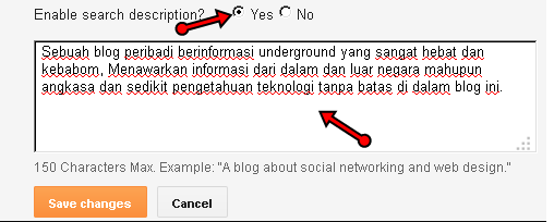 Cara aktifkan search description di blog blogspot