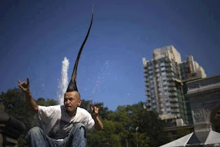 WORLD'S TALLEST MOHAWK: 3 FEET, 8.6 INCHES HIGH