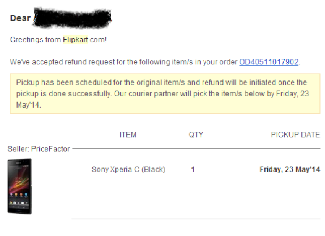 flipkart return accepted