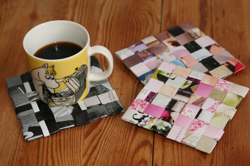 recycled magazine coasters / glasunderlägg