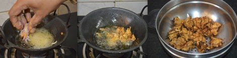 Frying onion pakora