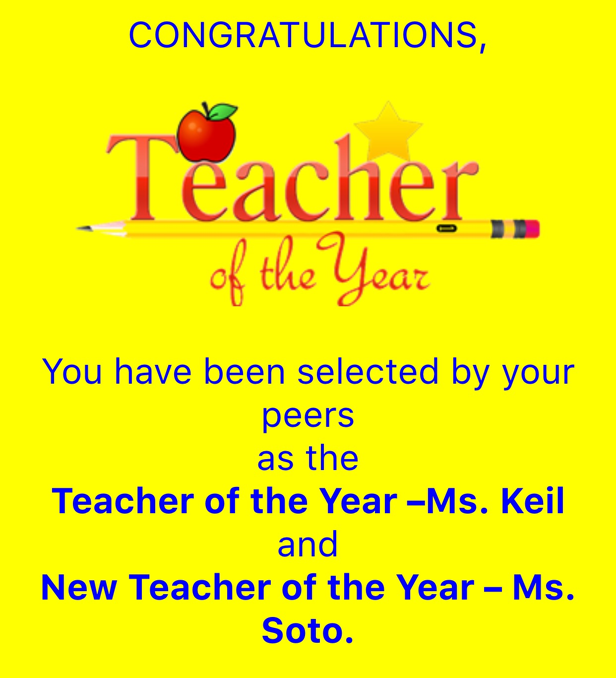 Teacher of the year 2015/2016