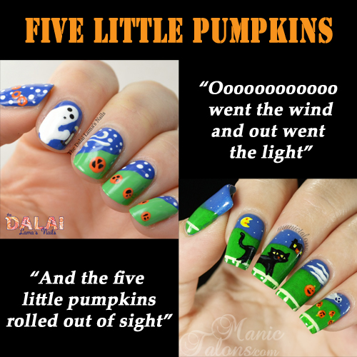 Five Little Pumpkins Nail Art Collaboration with Hannah from The Dalai Lama's Nails