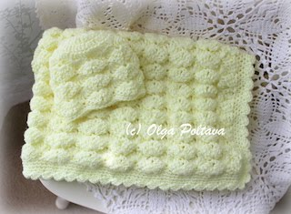Marshmallow Blanket and Hat Baby Set Pattern, $4.99