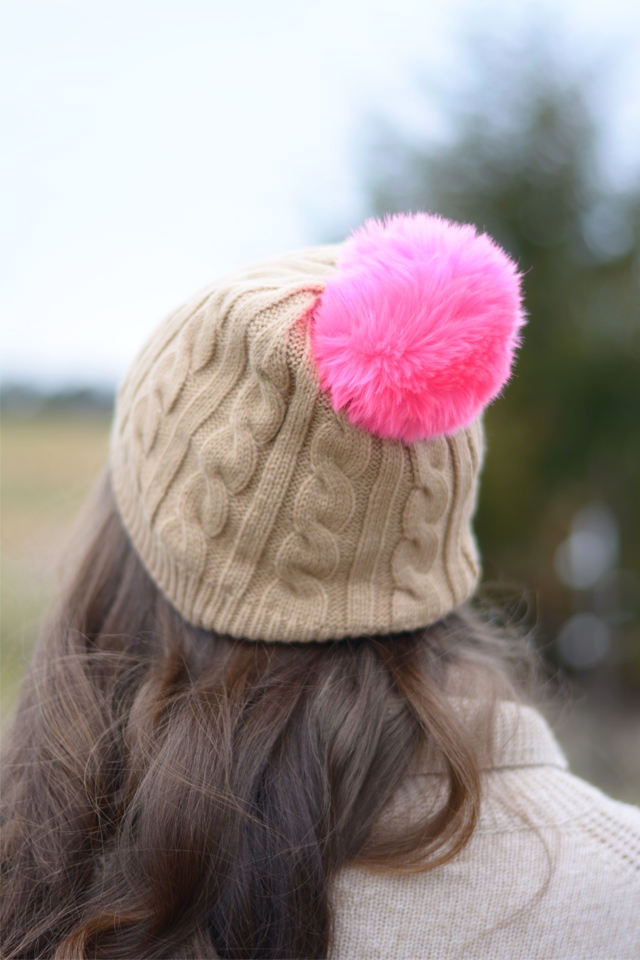Pink pom pom beanie from Old Navy